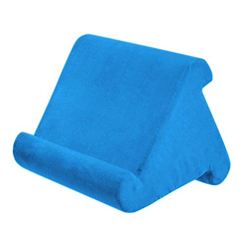 aycpg Portable tablet pillow Multi-Angle tablet pillow stand Soft Pillow anti-slip laptop pillow holder reading pillow pillow stand for iPads, tablets, e-readers, smartphones- Gray (Color : Blue)