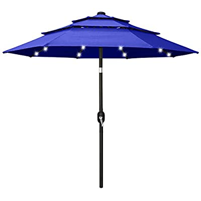 ABCCANOPY 10FT Solar 3 Tiers Market Umbrella Patio Umbrella Outdoor Table Umbrella with 32 LED Ventilation and Push Button Tilt for Garden, Deck, Backyard and Pool,8 Ribs Turquoise