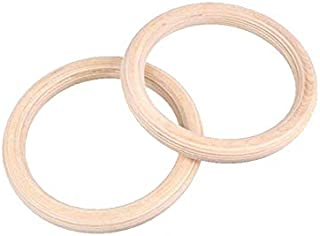 JVSISM 2Pcs/Pairs Wood Wooden Ring Portable Gymnastics Rings Gym Shoulder Strength Home Fitness Training Equipment