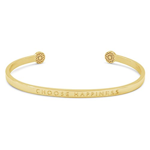 Simple Pledge - Choose Happiness - Blind - Armreif in Gold mit Gravur für Damen