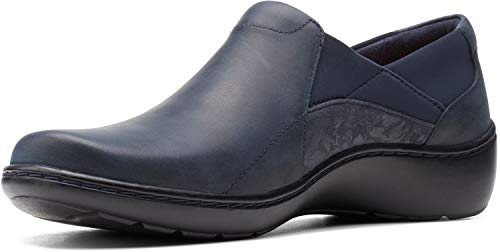 Clarks Cora Lilac Navy Leather/Textile Combination 12 A - Narrow