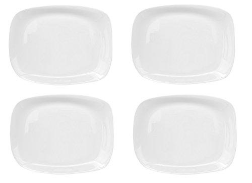 Bormioli Rocco Parma 4er Set Servierplatte, 325 x 240 x 23 mm, Servierteller aus weißem Opalglas, rechteckig, zeitlos-Elegantes Design