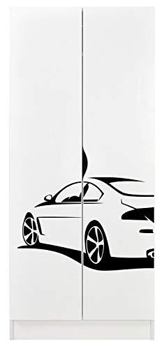 Leomark Armario Funcional de Madera - Roma - con Puertas correderas, Blanco Armario para niños, Estilo escandinavo, Dim: 161,5 (Altura) cm (Car Sport)