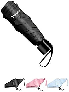 TradMall Mini Travel Umbrella, Portable Lightweight Compact Parasol with 95% UV Protection for Sun & Rain, Black