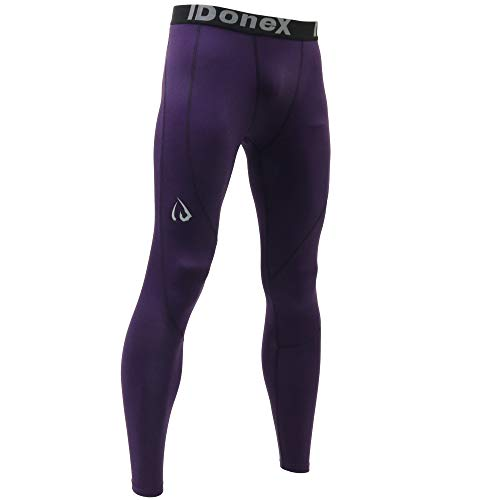 ARMEDES IDoneX Mens Compression Pants Running Tights Workout Leggings, Cool Dry Performance Baselayer (1061 Purple, Medium)