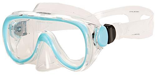 AQUAZON Dolphin Junior Medium Schnorchelbrille, Taucherbrille, Schwimmbrille, Tauchmaske für Kinder, Jugendliche von 7-14 Jahren, Tempered Glas, sehr robust, tolle Paßform, Farbe:blau Junior