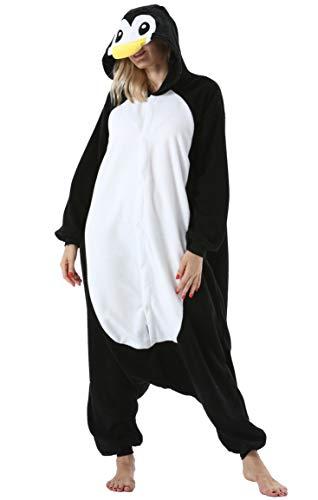 Mujer Hombre Pijama Animal Entero Unisex para Adultos con Capucha Cosplay Pyjamas Ropa de Dormir Traje de Disfraz para Festival de Carnaval Halloween Navidad Negro Pingüino para Altura 148-187cm