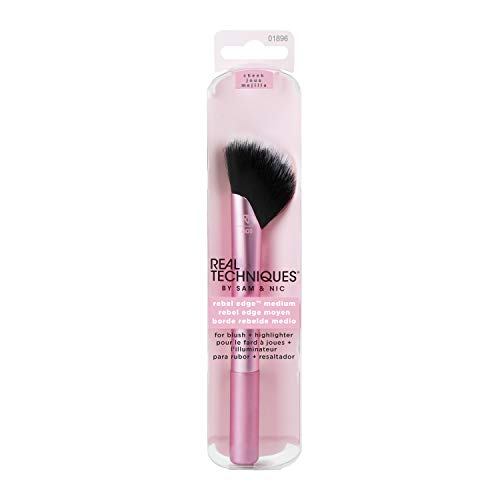 Real Techniques Rebel Edge Makeup Brush Medium Half Fan to Define and Blend For Blush and Highlighter Color May Vary