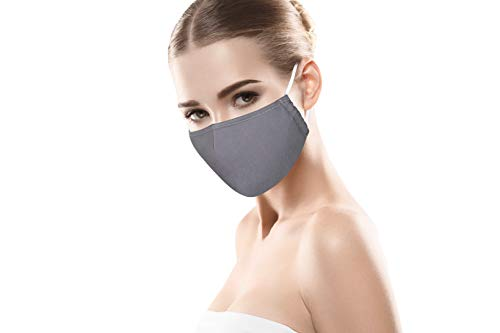 PRECORN Mund- & Nasenmaske Mund Nasen Schutzmaske in grau Mundschutz Maske 3-lagig Wiederverwendbare Masken 100% Baumwolle