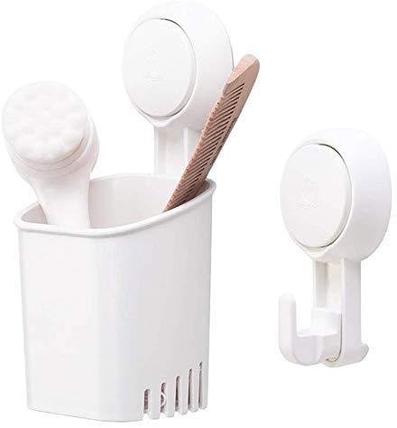 1yess DIY Drill-Free Removable Zahnbürstenhalter Starke Vakuum-Saugnapf Zahnpasta Rasierer Halter mit 1 Extra-Haken for Badezimmer Küchenzubehör