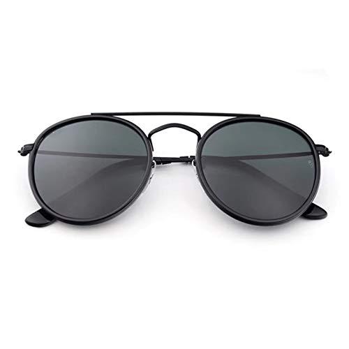 HAISERVEN Doble Ronda Puente de la Vendimia Gafas de Sol de Las Mujeres de los Hombres de 51 mm Cristal de Espejo polarizado Lente de la protección UV400 Gafas de Sol (Lenses Color : Black Gray)