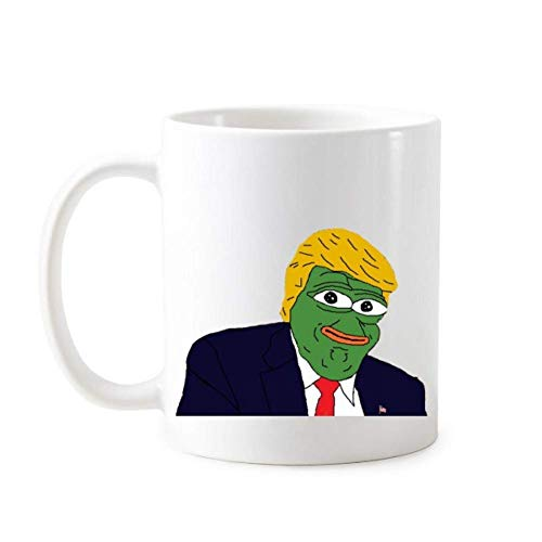 DEDEA President Sad Frog Trump Coffee Cup, Funny Ridiculous Spoof Meme Image Classic Mug, White Pottery Ceramic Milk Cup with Handles 350Ml