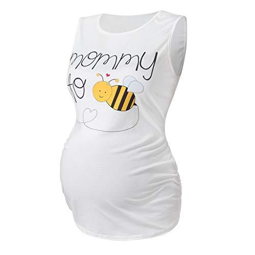 Vuncio Mommy - Camiseta premamá para mujer, verano, elegante, larga, sin mangas, de algodón, tallas grandes Blanco XL
