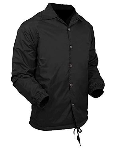 Renegade Sportswear Men's Coaches Jackets Water-Resistant Windbreaker (Black, Large)