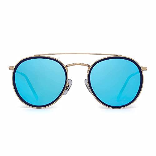 JIM HALO Gafas de Sol Polarizadas Redondas Marco de Metal Lente Circulo Plano Anteojos Mujer Hombre(Aleación Dorado Punta Azul/Azul Espejo Polarizado)