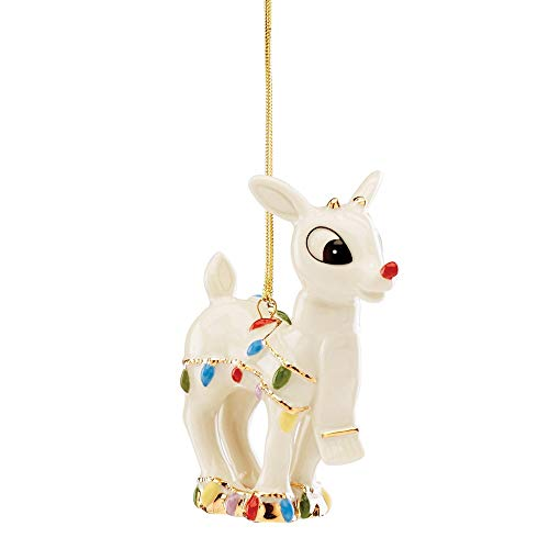 Lenox Rudolph's Christmas Glow Ornament, 0.30 LB, Ivory