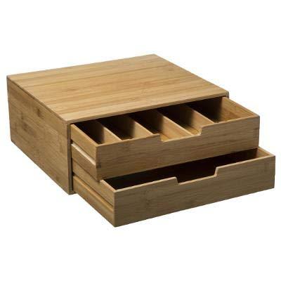 JJA DECASHOP - Porta capsule con 2 cassetti in bambù