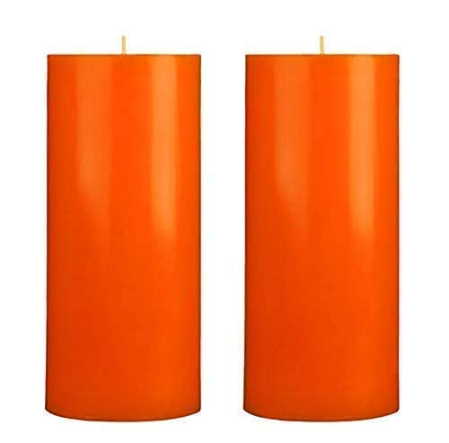 Orange Scented Pillar Japan's largest assortment Candles - Set San Diego Mall Unscented 10 2 6x3 of inch