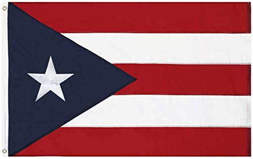 Country 3x5 Feet Flag - Embroidered 210D Nylon Flags with Sewn Panels (Puerto Rico 3x5)