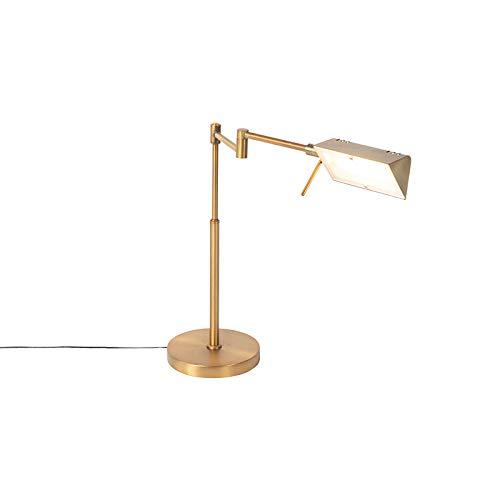QAZQA Moderno Lámpara de mesa diseño bronce LED regulador-táctil - NOTIA Vidrio/Acero Alargada Incluye LED Max. 1 x 10 Watt