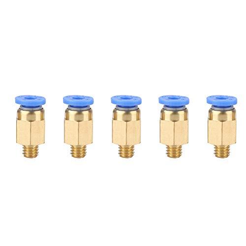ASHATA 5xPC4-M6 Conector neumático, 5pcs Accesorios de Impresora 3D PC4-M6 a través de Conexiones neumáticas Conexión con diámetro Exterior de 4 mm para Manguera de PU/Tubo de Nylon