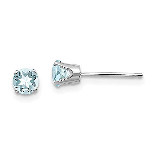 14ct White Gold Post Earrings 4mm Aquamarine Stud Earrings Jewelry Gifts for Women