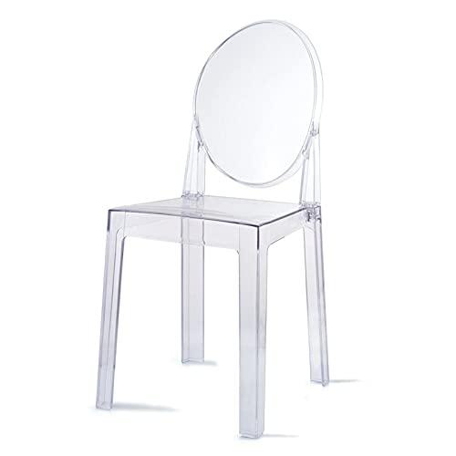 SHUJINGNCE Acrylique Chaise de Salle à Manger Feuillette Flash Fauteuil fantôme Chaise en Cristal Transparent pour la Cuisine et la Salle à Manger Chaise (Color : 1 pcs)