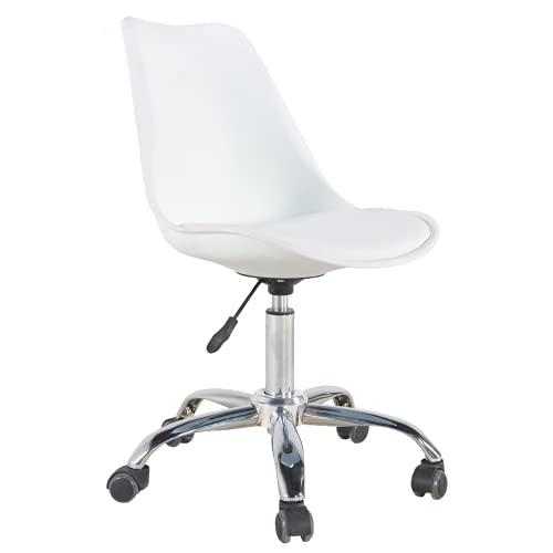 Silla de oficina Sanna giratoria con 5 ruedas, altura del asiento ajustable, color blanco