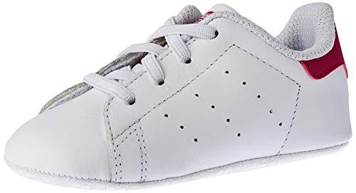 Adidas Stan Smith Crib, Chaussures Bébé marche bébé fille, Blanc (Ftwr White/Ftwr White/Bold Pink), 19 EU (9-12 Mois Bébé UK)