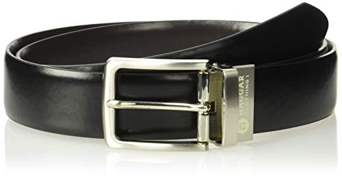 Haggar Men's Dress Casual Vegan Leather Belt, black/brown/burnished, 36