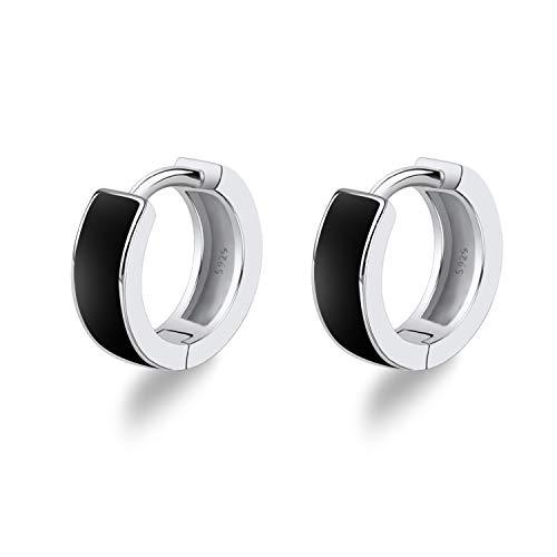 Unisex Small Hoop Earrings 925 Sterling Silver Black Mens Earrings Women Sleeper Earrings for Boys Birthday Gifts for Best Friends