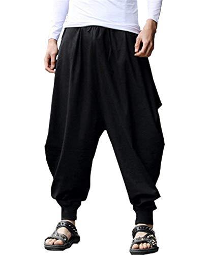 PERDONTOO Men's Casual Elastic Waist Baggy Hippie Yoga Harem Pants (40, Black)