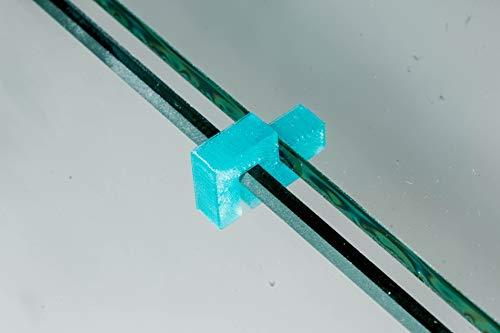 Garnelen Tom U-Line Abdeckscheibe Halter für Wandstärke 3 mm, Deckelstärke 3 mm, blau transparent, 4 STK.