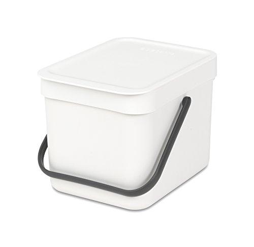 Brabantia Sort & Go Cubo de Basura, 6 L, Plástico, Blanco, 26.5x20x18 cm