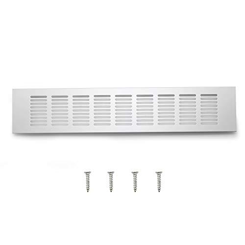 WJUAN Rejilla de Ventilación Plata Rejilla Ventilacion Mueble Cocina, Rejilla de Ventilación Rectangular de 400 mm para Ventilación de Armarios y Dormitorios