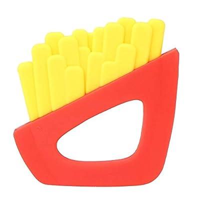 Jouet de dentition pour bébé, forme de frites, silicone de qualité alimentaire, sans BPA, bébé, enfants, jouet de dentition doux(Jaune)