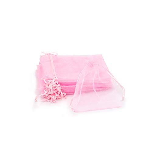 Bolsas de Organza Regalo Blanco (15x20cm) Bolsitas para Caramelos Recuerdos Invitados de Boda Fiesta Cumpleaños Navidad Halloween Color Rosa