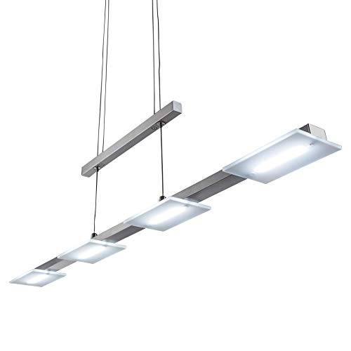 Lampadario LED a sospensione, lampada da soffitto a luce calda, corpo metallo color nickel opaco, include 4 piastre LED integrate 4 W, lampadario cucina, soggiorno o sala da pranzo, 230 V, IP20