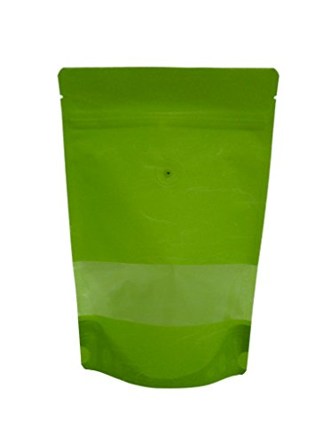Buy Discount 8 oz. Green Rice Paper Stand Up Zip Pouch w/ Window & Valve (Coffee Packaging, Tea Pack...