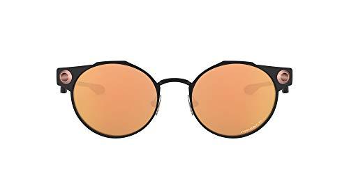 Oakley Men's OO6046 Deadbolt Titanium Round Sunglasses, Satin Black/Prizm Rose Gold Polarized, 50 mm