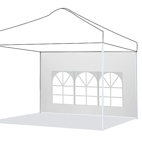 Pannelli laterali per gazebo impermeabile, 3 x 2 m, in tessuto Oxford 210D, pannello laterale di ricambio per gazebo da giardino, esterno o festa, colore: bianco, finestra romana