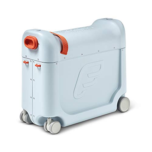 JetKids by Stokke BedBox, Blue Sky - Kid's Ride-On Suitcase & In-Flight Bed - Help Your Child Relax & Sleep on the Plane - Approved by Many Airlines - Best for Ages 3-7