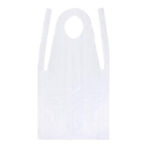 SUPVOX Delantales desechables de 100 piezas para adultos, delantales de plástico transparente a prueba de agua para cocinar, servir, pintar o lavar platos