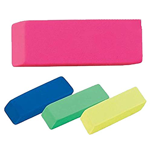 Kicko Pink Bevel Erasers - Pencil Erasers in Assorted Fun Colors - 12 Pack for Class School Kids, Collage, Art, Office, Education