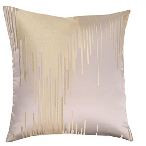 QXbecky Federa celeste riso strisce bianche luce lusso stile alta precisione (senza nucleo interno) Federa quadrata moderna e minimalista accessori per la decorazione del divano 45 cm