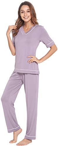 WiWi Womens Bamboo Comfy Pajama Set Stretchy Loungewear Pjs Short Sleeves Top with Pants Nightwear S-4X, Violet, Small
