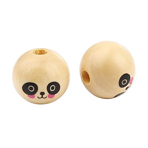 SiAura Material - 30 perlas de madera, naturales con cara de panda, 20 mm con agujero de 4,9 mm, redondas, para manualidades, enhebrar y pintar.