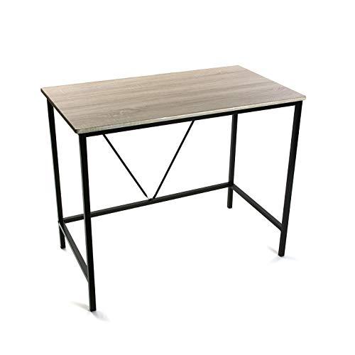 Versa Skien Mesa Escritorio para el Ordenador, Mesa para la Habitación o Estudio, Medidas (Al x L x An) 75 x 50 x 90 cm, Madera y Metal, Color Marrón