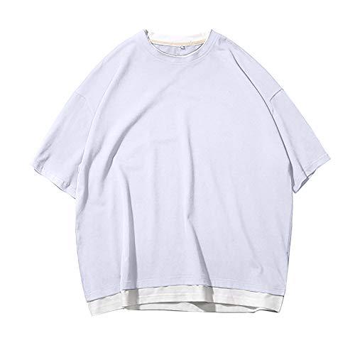 T-Shirt Männer Fitness Kurzarm Sport Quick Dry Stretch Training Fake Zwei Kleider (S,Weiß)
