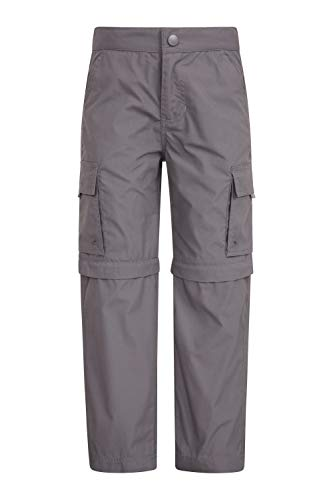 Mountain Warehouse Active Kids Convertible Hiking Pants Zip Off Shorts Dark Grey 9-10 Years